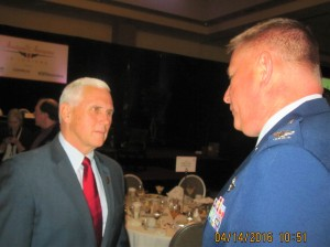 Col Schwartz speaks to Indiana Governor Mike Pence